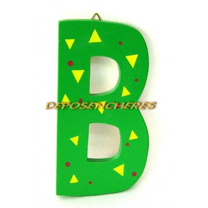"""Lettre alphabet """"B"""" en bois peint 15cm"""