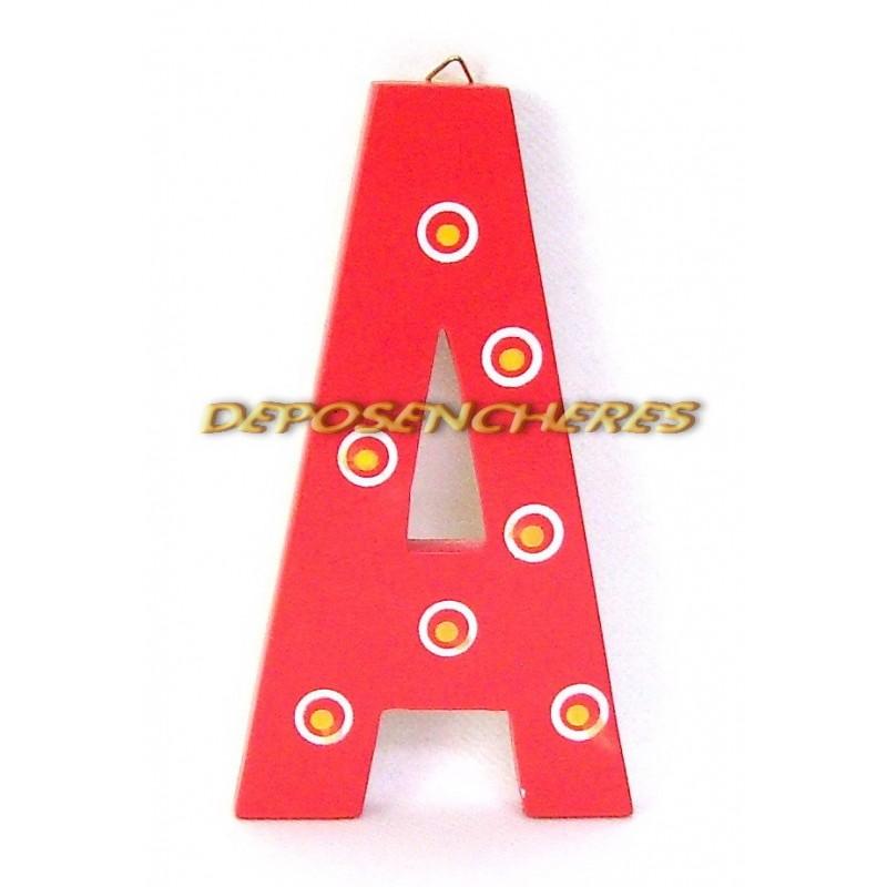 """Lettre alphabet """"A"""" en bois peint 15cm"""