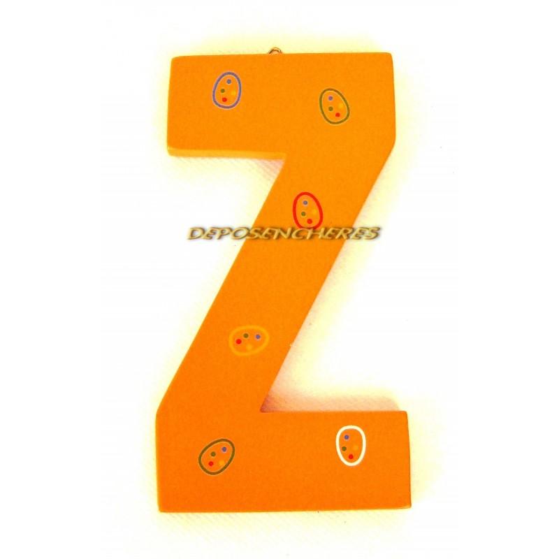 """Lettre alphabet """"Z"""" en bois peint 15cm"""
