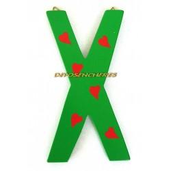 """Lettre alphabet """"X"""" en bois peint 15cm"""