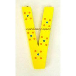 """Lettre alphabet """"V"""" en bois peint 15cm"""