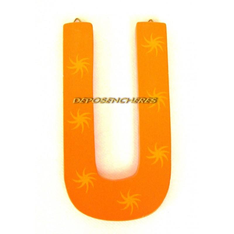 """Lettre alphabet """"U"""" en bois peint 15cm"""