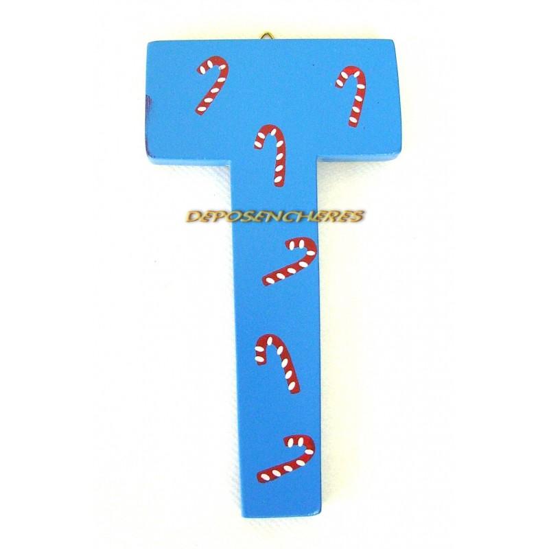"""Lettre alphabet """"T"""" en bois peint 15cm"""