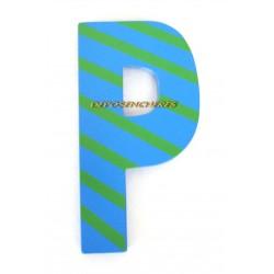 """Lettre alphabet """"P"""" en bois peint 15cm"""