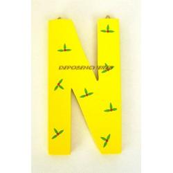 """Lettre alphabet """"N"""" en bois peint 15cm"""