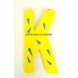 """Lettre alphabet """"K"""" en bois peint 15cm"""