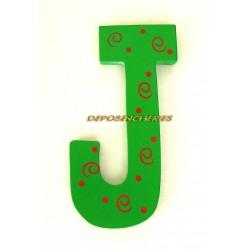 """Lettre alphabet """"J"""" en bois peint 15cm"""