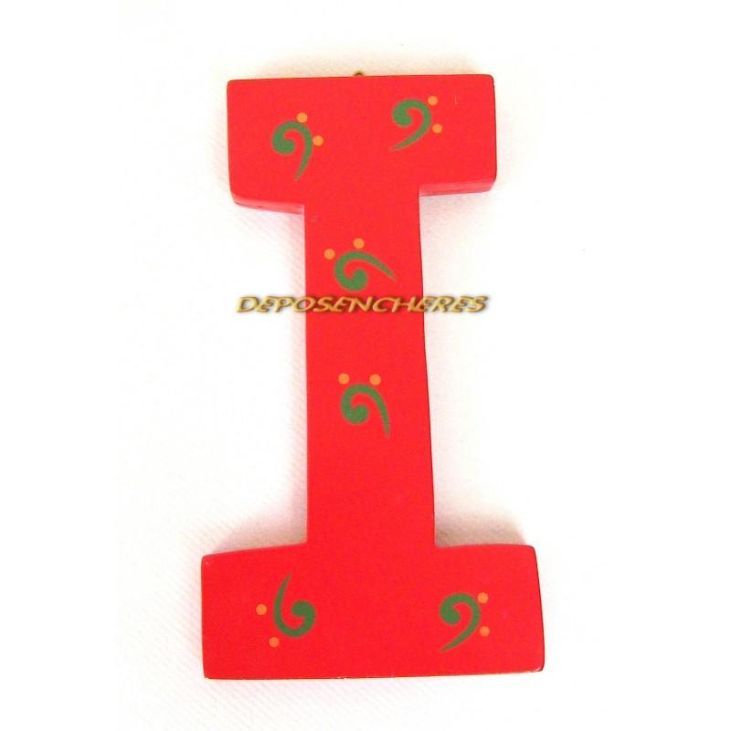 "Lettre alphabet ""I"" en bois peint 15cm"