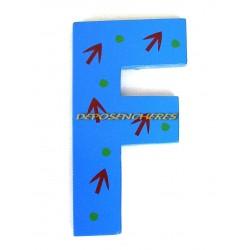 """Lettre alphabet """"F"""" en bois peint 15cm"""
