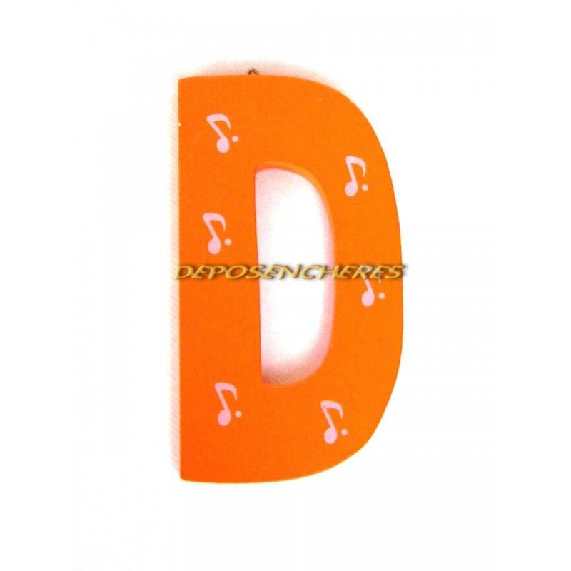 """Lettre alphabet """"D"""" en bois peint 15cm"""