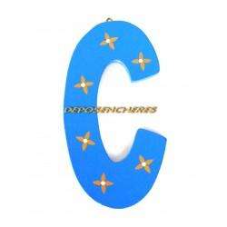"""Lettre alphabet """"C"""" en bois peint 15cm"""