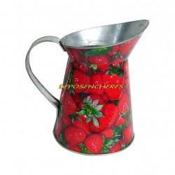 Broc pichet galvanisé 1L25 décor fraises