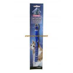 Collier chat velours bleu strass 10mm x 30cm