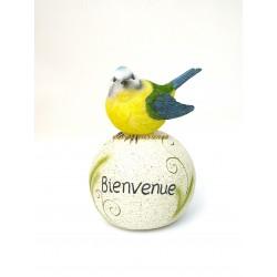 Oiseau sur boule bienvenue en résine