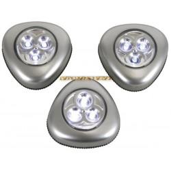 Lot 3 lampes à 3 leds adhésives autocollantes