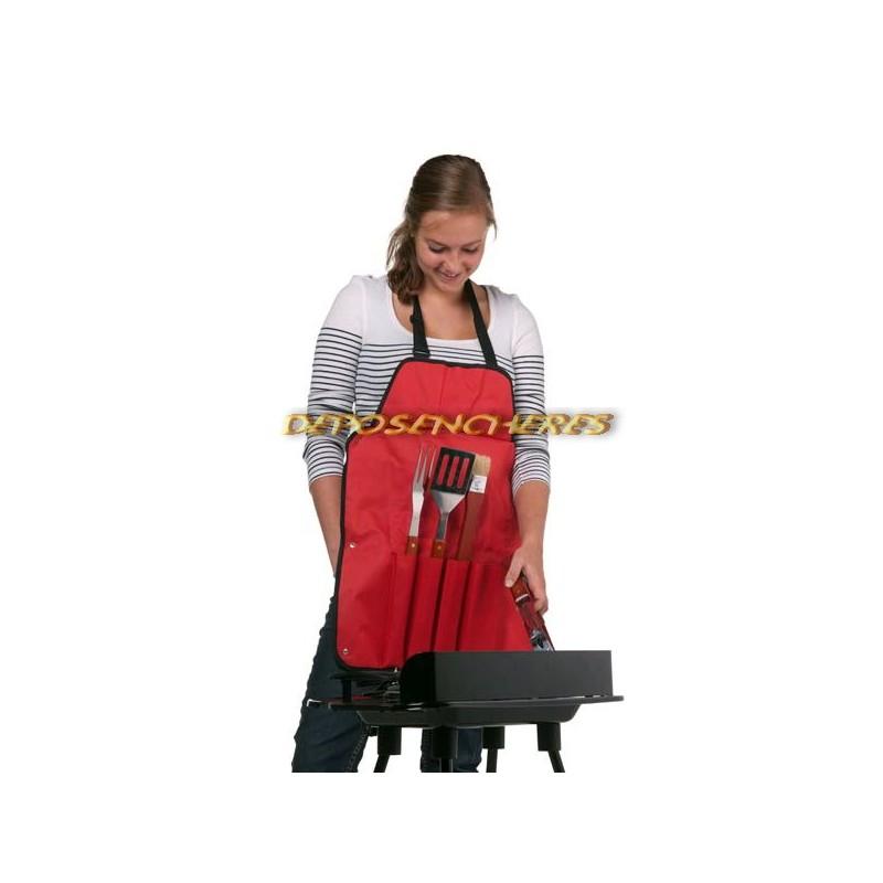 Tablier spécial barbecue avec 4 accessoires