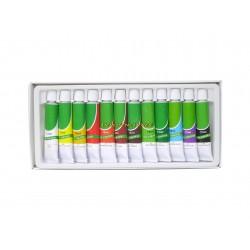 Lot 12 tubes 12ml peinture huile couleurs assorties