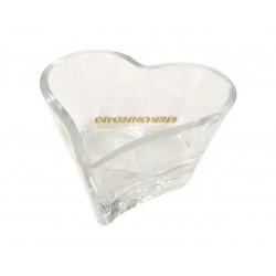 Coupe déco coeur en verre transparent 8x16.5x16.5cm