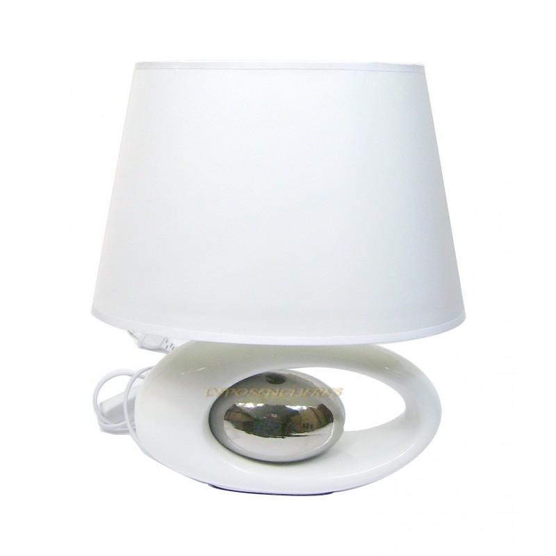 lampe de table design coloris blanc argent shopping affaires. Black Bedroom Furniture Sets. Home Design Ideas